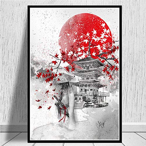 Cuadro En Lienzo,Samurai Bajo Un Cerezo En Un Edificio Rojo En Japón Non-Woven Carteles Mural,Arte Abstracto Ukiyo-E Imagen 3D Pared Vertical Pintar Ilustraciones Dormitorio Decoraciones Home Office