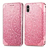 Trugox Cover Portafoglio per iPhone X/iPhone XS in Pelle Fiore Custodia a Libro con Supporto Antiurto Case Cover Wallet per Apple iPhone X (iPhone 10) / iPhone XS - TRSDA140083 Rosa