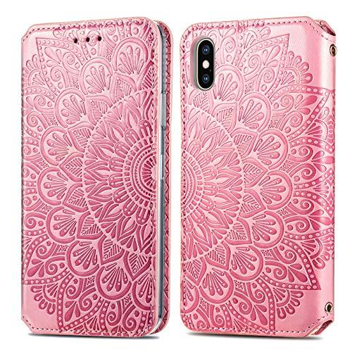Trugox Cover Portafoglio per iPhone X/iPhone XS in Pelle Fiore Custodia a Libro con Supporto Antiurto Case Cover Wallet per Apple iPhone X (iPhone 10) / iPhone XS - TRSDA140083 Rosa