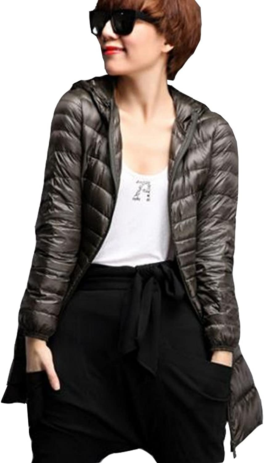 Hzcx Fashion Women's Lightweight Quilted Packable Long Down Coats with Hood