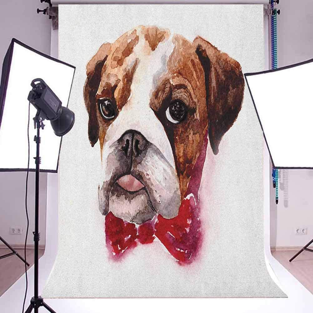 8x12 FT English Bulldog Vinyl Photography Backdrop,Watercolor Dog Portrait with a Bow Tie Design Brush Stroke Effect Background for Baby Birthday Party Wedding Studio Props Photography