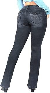 YMI Juniors Mid-Rise Bootcut Flap Back Button Pocket Jeans, Black