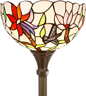 Tiffany Style Torchieres Floor Lamp Table Desk Standing Lighting Wide 12 Tall 66 Inch Stained Glass Hummingbird Design Lampshade for Living Room Bedroom Antique Set S801 WERFACTORY