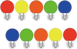 Huoqilin Bombilla multicolor E27, rojo, naranja, amarillo, verde y azul, cadena de luces de colores con forma de globo, 10 unidades