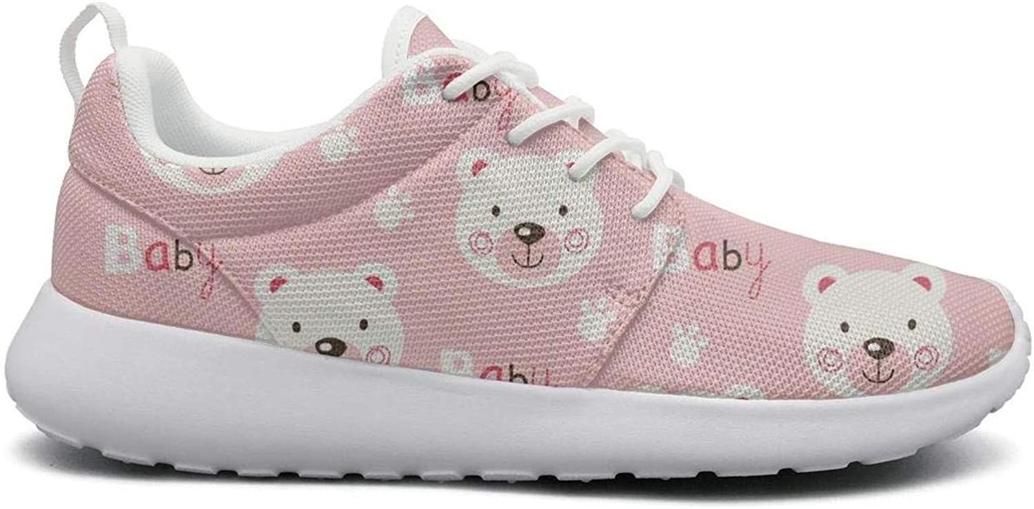 FEWW11 Women Cute Lightweight shoes Sneakers Pink Bear Baby Decor Breathable Gym Lace-Up