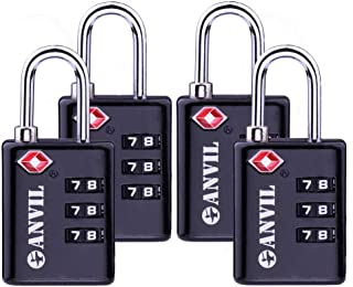 TSA Approved Luggage Locks, Durable Travel Lock with Inspection Indicator and 3 Digit Re-Settable Combination