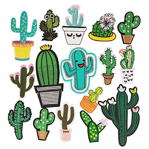 Libiline Kid Embroidered Patch Cactus Sew On/Iron On Patch Applique Clothes Dress Plant Hat Jeans Sewing Flowers Applique DIY Accessory (Cactus)