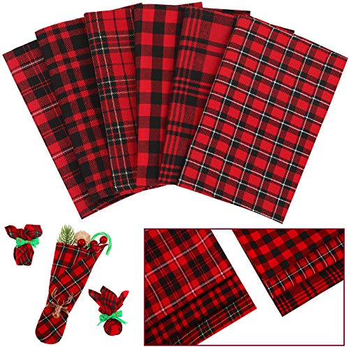 6 Pieces Christmas Plaid Fabric 18 x 18 Inch Buffalo Plaid Fabric Precut Checkered Cotton Fabric for Christmas DIY Craft Sewing Quilting (Red and Black Plaid)