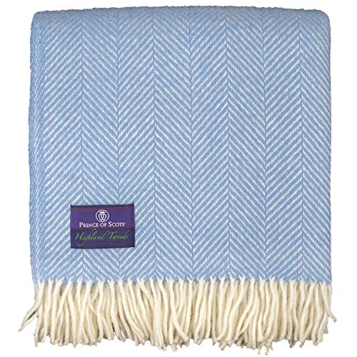 Prince of Scots Highland Tweed Herringbone 100% Pure New Wool Throw (Sky Blue)
