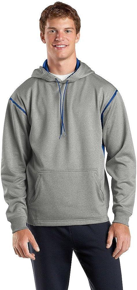 Sport Tek Tall Tech Fleece Hooded Sweatshirt-3XLT (Grey Heather/True Royal)