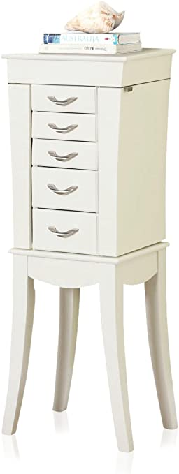 Amazon Com Nathan Direct Eiffel Tower 5 Drawer Jewelry Armoire With 2 Side Compartments And A Lift Top Compartment With Mirror And Ring Holders White Home Kitchen