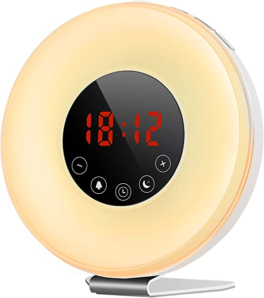 Sunrise Alarm Clock TOPELEK Wake Up Light With 6 Nature Sounds 7 Colors FM Radio Bedside Sunrise Simulation And Sunset Fading Night Light With Snooze Function For Bedrooms