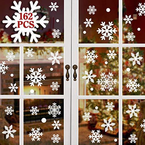 heekpek 162 Pegatinas Decorativas de Copo de Nieve para Adorno Navideño Accesorio de Decoración para Navidad