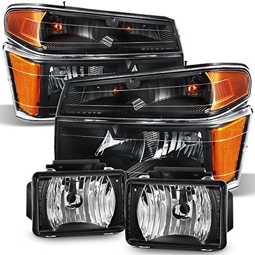 For 2004-2012 Chevy Colorado GMC Canyon   06-08 Isuzu Pickup Truck Black Headlights +Black Fog Light Lamp