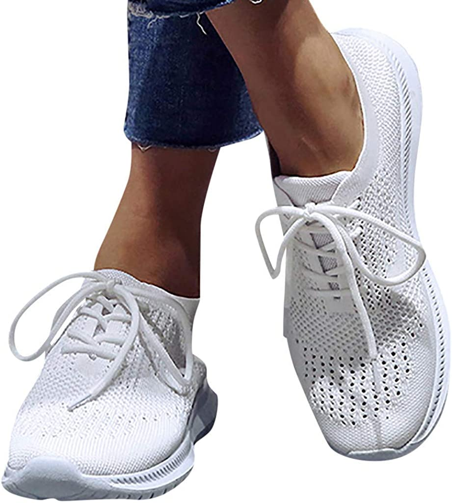 Sneakers for Women Running Shoes Slip On Solid Mesh Breathable Lightweight Sport Walking Shoes Fashion Sneaker