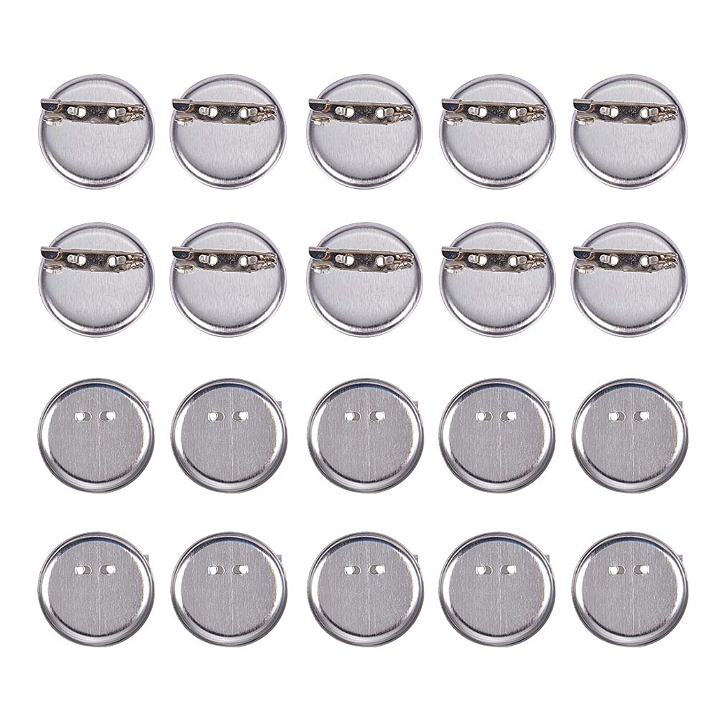 PandaHall 20 Pcs Iron Brooch Clasps Pin Disk Base Pad Bezel Blank Cabochon Trays Backs Bar Diameter 29mm for Badge, Corsage, Name Tags and Jewelry Craft Making Platinum