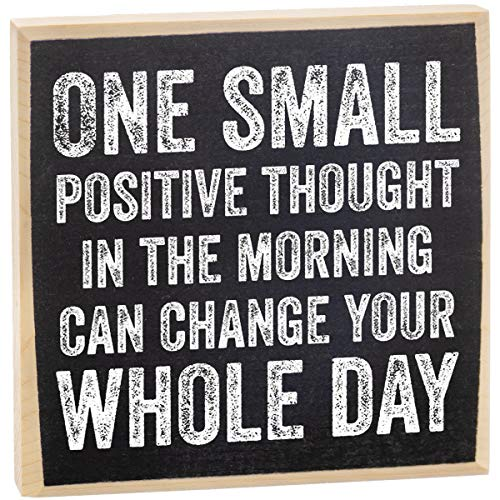 One Small Positive Thought - Rustic Wooden Sign - Makes a Great Gift Under $15!