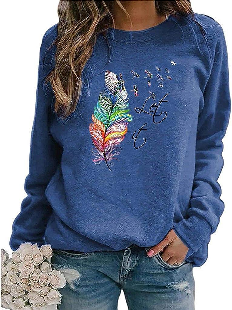 FABIURT Sweatshirt for Women,Women Long Sleeve Sweatshirt Vintage Graphic Crewneck Pullover Tops Tee Shirts Tunic