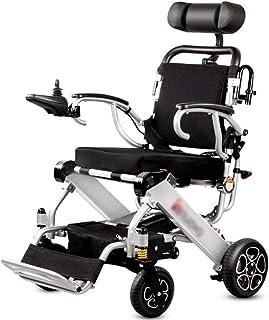 Sillas de ruedas eléctricas para adultos Silla de ruedas ligera eléctrica con apoyo for la cabeza, plegable plegable y portátil ligero Powerchair, seguro y fácil de conducir Sillas de ruedas, de calid