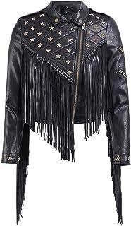 Women's Leather Jacket, Stylish PU Slim Punk Style Lapel Zipper Studded Fringed Belt Motorcycle Jacket,a,XXXL