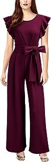 Knitee Women's Vintage Sleeveless Ruffle High Waist Wide Leg Romper Formal Long Jumpsuit with Belt
