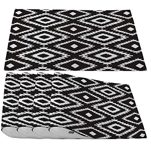 Moslion Black White Repeating Placemats,Geometric Tiles with Dotted Rhombus Place Mats for Dining Table/Kitchen Table,Waterproof Non-Slip Heat-Resistant Washable Outdoor Dinner Table Mats,Set of 4