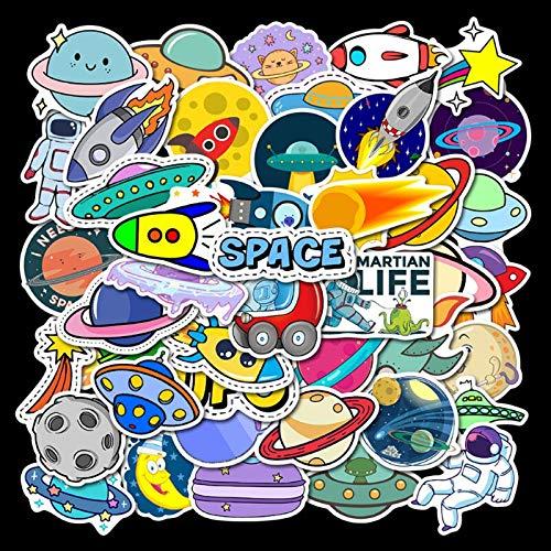 DUOYOU Planet Rocket Ufo Astronauta Graffiti Impermeabile Skateboard Viaggio Valigia Telefono Portatile Bagagli Adesivi Carino Bambini Ragazza 50 Pz