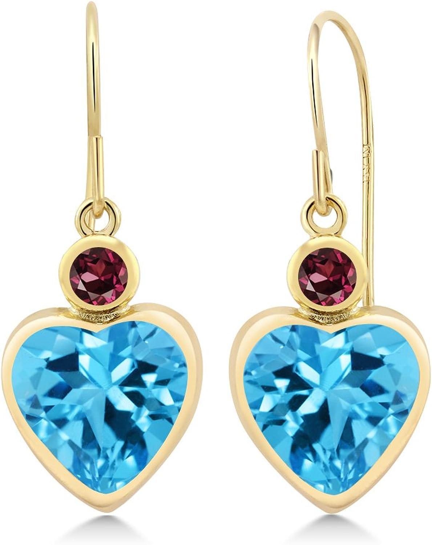4.74 Ct Swiss bluee Topaz Red Rhodolite Garnet 14K Yellow gold Earrings