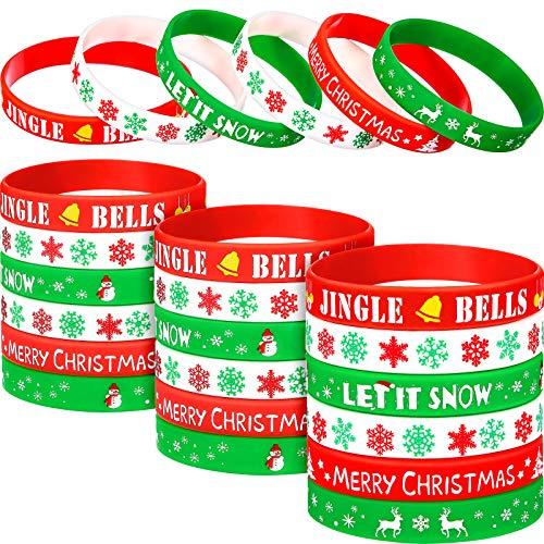 Jovitec Christmas Silicone Bracelets Wristbands Rubber Silicone Xmas Rubber Bracelet Merry Xmas Patterns forChristmas Party Favor Decoration (48 Pieces)