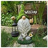 Gartendeko Figuren, Garten Gnome Statue Solar Leuchte, Gartenzwerg-Statue Dwarf Statue-Resin Ornament mit Solar LED Beleuchtung, Harz Gnom Figur Tragen Kerosinlampe Gartenzwerge für Balkon, Garten