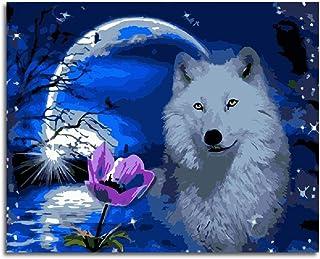 Pintar por números para Adultos y niños Kits de Regalo de Pintura al óleo DIY -Lobo Blanco a la luz de la Luna 16 * 20 Inch