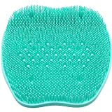 SIMUER Foot Scrubber Cleaner Massager, Silicone Mat Bath Ma Exfoliating Dead Skin Non-Slip with Suction Cups Massage Mat Improves Foot Circulation & Reduce Pain - Green