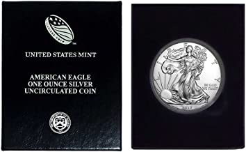 2017-1 oz American Silver Eagle in Plastic Air Tite and Blue Gift Box with our Certificate of Authenticity Dollar Uncirculated Us Mint