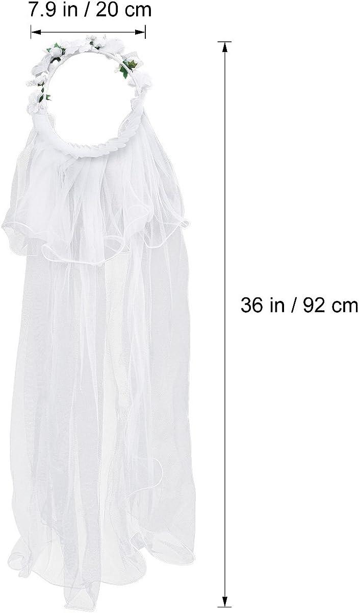 Flower Girl Veils White Wedding Communion Hair Wreath Rhinestone Crown