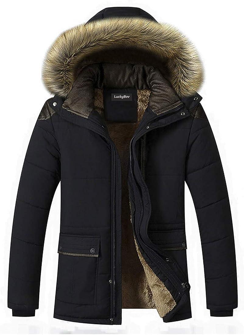 LuckyBov Men Thermal Pea Coat Windproof Fleece Liner Jacket Winter Hooded Outerwear