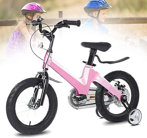 Más asequible Q&J Bicicleta Bicicleta Bicicleta de Altura Ajustable de aleación de magnesio como Regalo para niñas, Silla de Montar y manubrio, Caja de Cadena Cerrada, 2 Frenos, Pedal Antideslizante, Ruedas de Apoyo  ahorra hasta un 50%