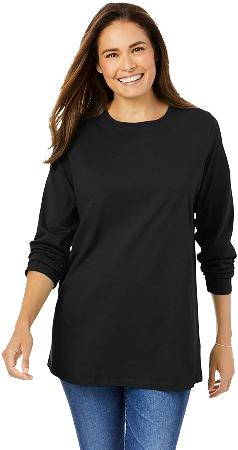 Woman Within Women's Plus Size Perfect Long-Sleeve Crewneck Tee Shirt