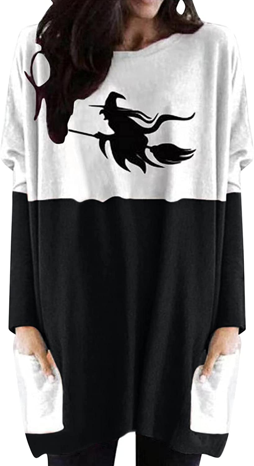 Womens Halloween Blouse Long-Length Long Sleeve Shirts Color-Matching Sweatshirts Relaxed Fit Pullover Casual Tops