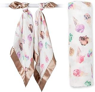 lulujo Swaddle & Security Lovies Gift Set| 1 Swaddle Blanket + 2 Security Lovies Unisex Softest Muslin Ice Cream