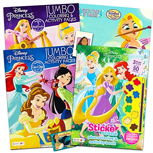 Disney Princess Coloring Book Super Set -- 4 Disney Princess Activity Books with Stickers and Painting Supplies