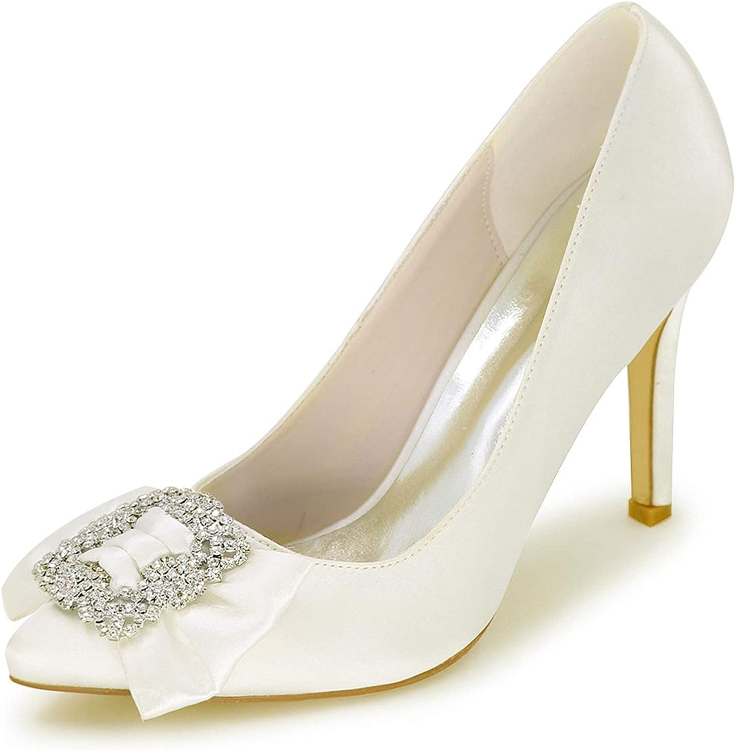 Fanciest Women's Pointed Toe Pumps Heels Sandals Satin Wedding Bridal shoes White 0608-27