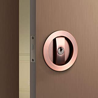 CCJH Invisible Barn Wood Sliding Door Gate Cup Handle Lock Hardware with Keys (Red Copper (dia-2.95