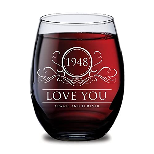 1948 Love You Always And Forever Wine Glass