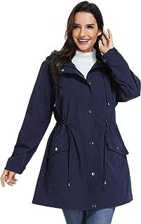 UNIQUEBELLA Hooded Waterproof Jacket Lightweight Raincoats Outdoor Rain Jacket