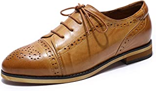 MIKCON Womens Leather Oxfords Saddle Shoes Vintage Wingtips Brogues Flats Shoes for Women ladis Girls