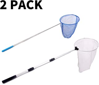 Rngeo 2 Pack Telescopic Butterfly Net, Extendable Fishing, Insect Toy Nets for Kids and Family, Aluminum Alloy (Silver Extends to 36 Inches, Blue Extends to 26 Inches, Pack of 2)