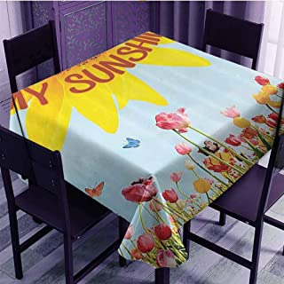 VICWOWONE Soft Square Tablecloth Western Farmhouse Mansion Nature Decor Collection Daily use Sunflower Poppies Tulips Pansy Flowers Butterfly You are My Sunshine W60 x L60