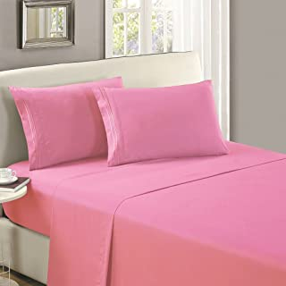 Mellanni Flat Sheet Twin Pink - Brushed Microfiber 1800 Bedding Top Sheet - Wrinkle, Fade, Stain Resistant - Ultra Soft - Hypoallergenic (Twin, Pink)