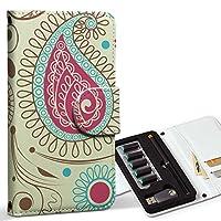 スマコレ ploom TECH プルームテック 専用 レザーケース 手帳型 タバコ ケース カバー 合皮 ケース カバー 収納 プルームケース デザイン 革 フラワー ペイズリー イラスト ブラウン 005086
