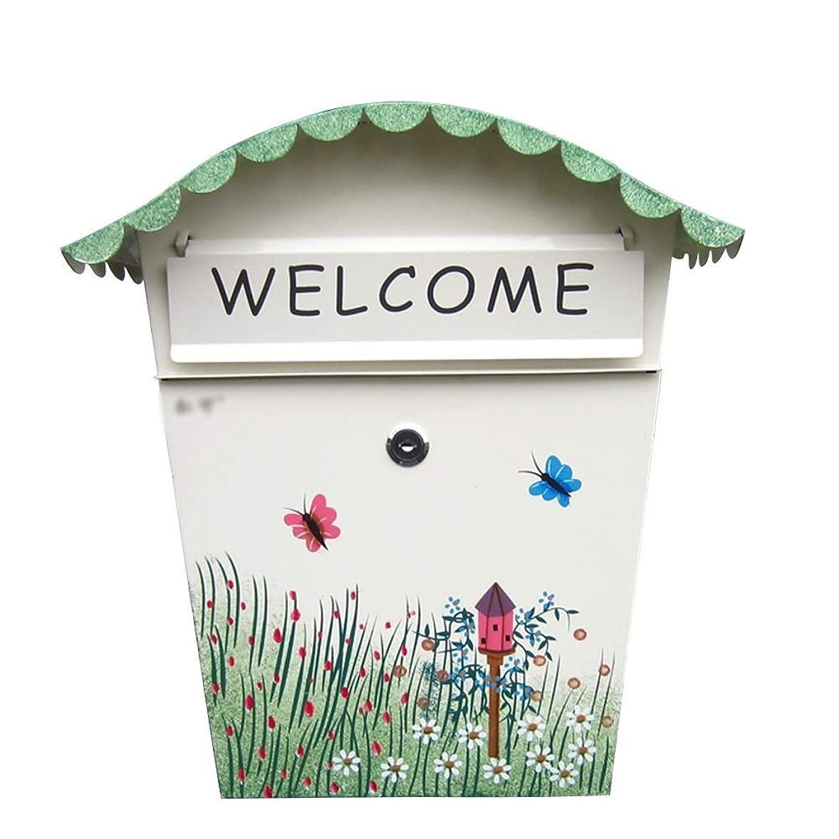 コンパクト間隔ブローホールRui Peng 郵便受け - 電流を通されたシート、ロック雨水の受信箱が付いている創造的な牧歌的な塗られた屋外の壁、別荘、パティオ、家のために適した - 利用できる2つの様式 ウォールマウントメールボックス (色 : A)